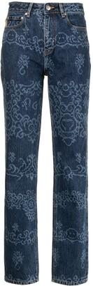 Ganni Motif-Print Straight-Leg Jeans