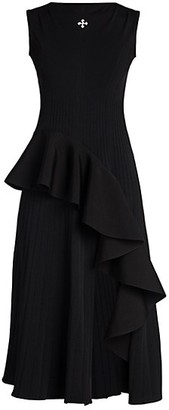 Off-White Sleeveless Ruffle Midi Dress