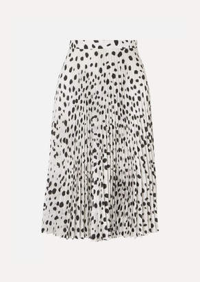 Burberry Pleated Printed Crepe De Chine Skirt - White