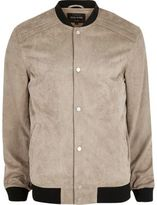 River Island Mens Stone faux suede bomber jacket