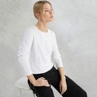The White Company Cotton Jersey Rib Neck Long Sleeve T-Shirt, White, 6