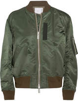 Sacai Ribbed Jersey-trimmed Shell Bomber Jacket - Army green