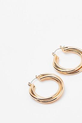 Nasty Gal Womens What's the Twist Hoop Earrings - Gold