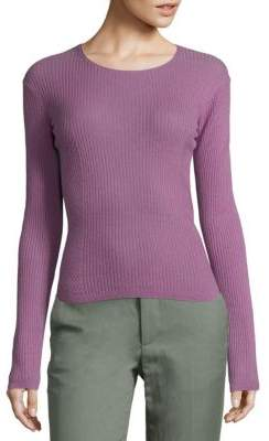Vince Rib-Knit Cropped Cashmere Pullover