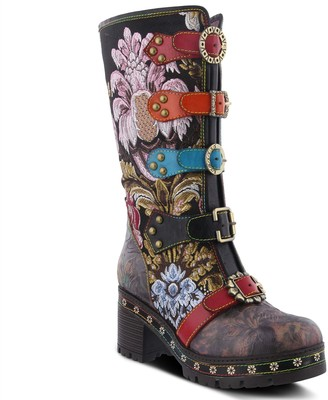 Spring Step L'Artiste Floral Embroidered Leather Boots w/ Straps - Brazen