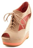 Charlotte Russe Cutout Lace-Up Oxford Wedge