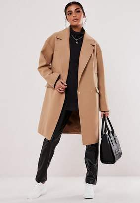 Missguided Camel Raw Edge Formal Coat