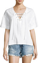 AG Jeans Kelly Short Sleeve Lace-Up Top, White