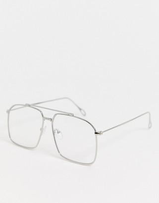 clear Asos Design ASOS DESIGN navigator fashion glasses in silver metal with lenses