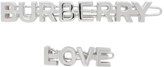 Burberry Silver Logo and Love Hair Clips