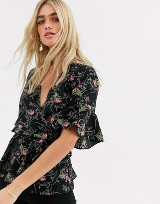 AX Paris wrap front blouse in floral