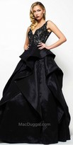 Mac Duggal Waterfall Applique Embellished Ball Gown