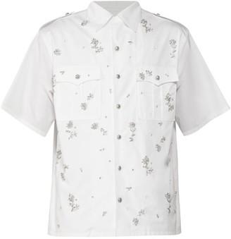 Prada Floral Crystal-embroidered Cotton-poplin Shirt - Mens - White