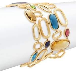 Marco Bicego Blue Topaz, Green Tourmaline & 18K Yellow Gold Bracelet