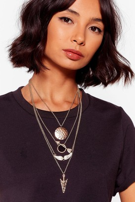 Nasty Gal Womens On the Straight and Arrow Layered Necklace - Metallics - One Size