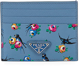 Prada Floral-Print Leather Card Case