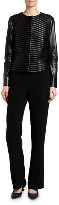 Giorgio Armani Leather & Velvet Fitted Short Jacket