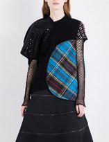 Junya Watanabe Tartan-panelled wool-blend jumper