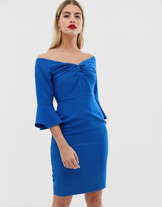 Paper Dolls sweetheart midi bodycon dress with knot front in cobalt