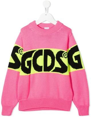 Gcds Kids Intarsia Logo Knit Jumper