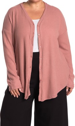 Gibson Long Sleeve Knit Button Down Tie Front Sweater