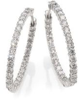 Roberto Coin Diamond & 18K White Gold Hoop Earrings- 1.2in