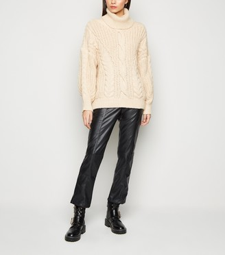 New Look NA-KD Coated Leather-Look Trousers