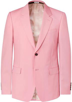 Alexander McQueen Pink Slim-Fit Wool And Mohair-Blend Suit Jacket