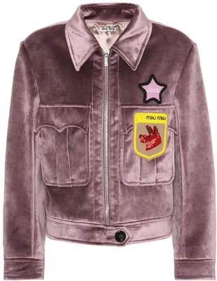 Miu Miu Velvet beaded applique jacket