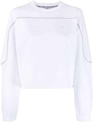 Fila Logo Embroidered Cropped Sweatshirt