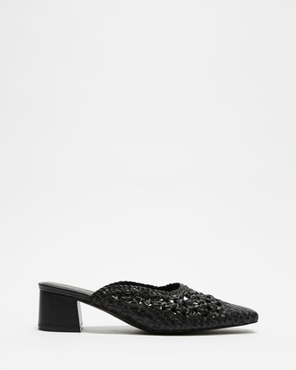 AERE - Women's Black Heels - Woven Leather Mule Heels - Size 5 at The Iconic
