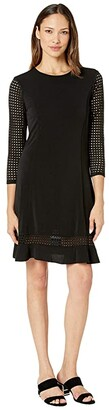 MICHAEL Michael Kors High Neck Mesh Combo Dress (Black) Women's Clothing