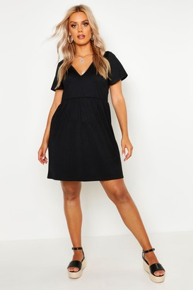 boohoo Plus Plunge Front Cap Sleeve Sundress