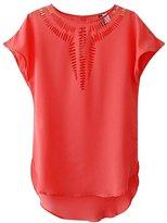 LETSQK Women's Summer Casual Chiffon Vest Shirt Tops Blouse L