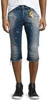 Robin's Jeans Motard Distressed Past-Knee Denim Shorts, Blue