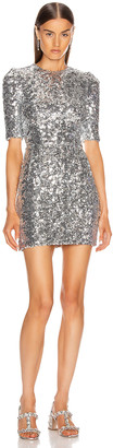 Dolce & Gabbana Sequin Mini Dress in Silver | FWRD