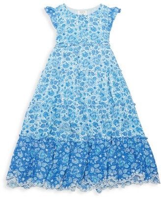 HEMANT AND NANDITA Little Girl's & Girl's Suho Printed Tiered Dress