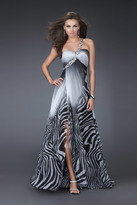 La Femme Ombre Zebra Print Chiffon Long Dress 16564