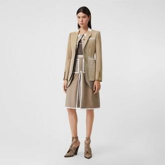 Burberry Contrast Seam Wool Cashmere and Linen Blazer