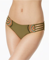California Waves Embroidered Strappy Bikini Bottoms Women's Swimsuit