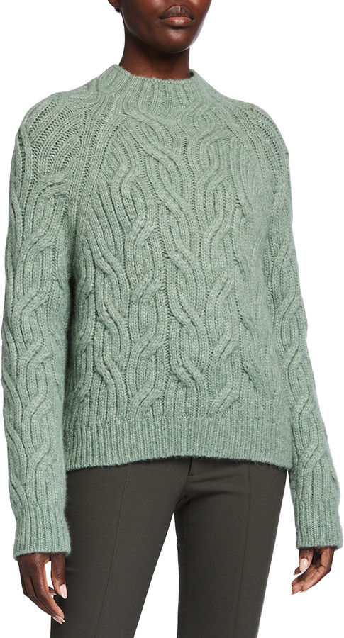 Vince Twisted Chain Cable-Knit Turtleneck