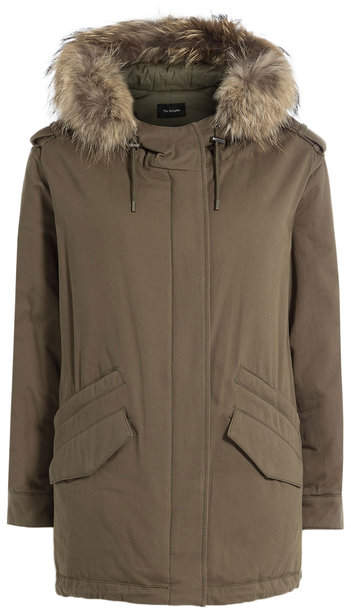 The Kooples Cotton Parka with Fur-Trimmed Hood