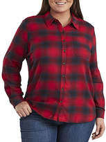 Dickies Plus Womens Long Sleeve Button-Front Shirt, 1x , Multiple Colors