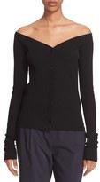 Tibi Women's Ribbed V-Neck Merino Wool Cardigan