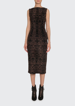 Alaia Animal-Print Sleeveless Velvet Midi Dress