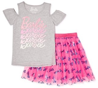 Barbie Girls Logo Cold Shoulder Top and Foil Printed Skirt, 2-Piece Outfit Set, Sizes 4-18 & Plus