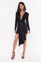 Nasty Gal Womens Satin Puff Shoulder Drape Mini Dress - Black - 4, Black