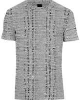 River Island Mens Grey chunky rib muscle fit crew neck T-shirt