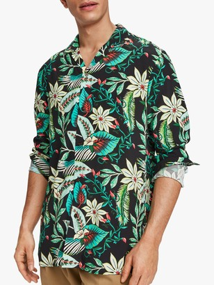 Scotch & Soda Hawaiian Print Short Sleeved Shirt, Green/Multi
