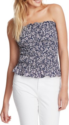 1 STATE Smocked Floral Tube Top